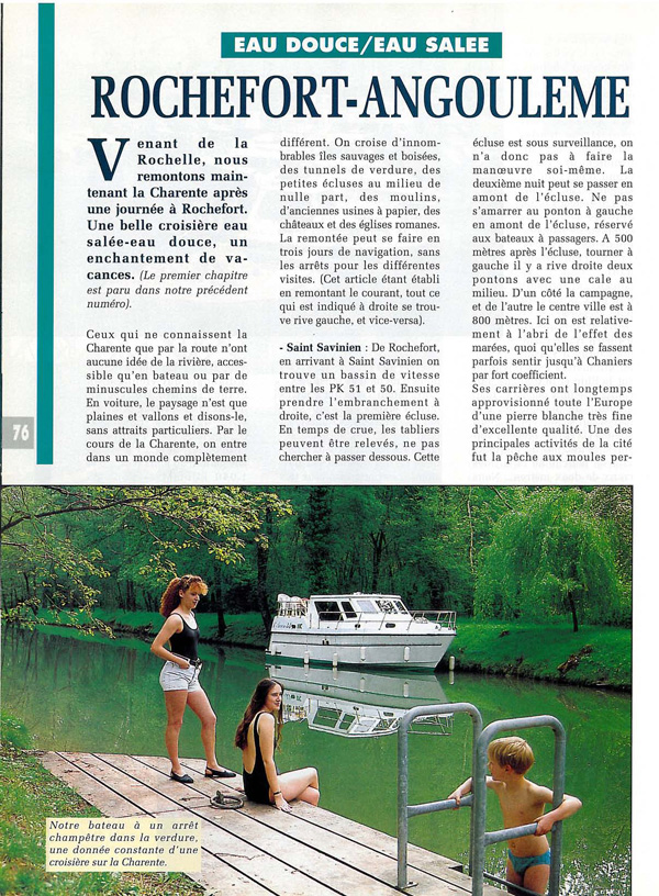 Revue fluvial articles magazine fluvial for Rochefort angouleme