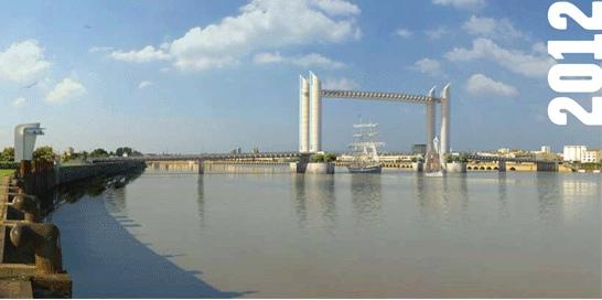 Revue fluvial bordeaux le tablier du gigantesque pont levant bacalan bastide - Le pont levant de bordeaux ...
