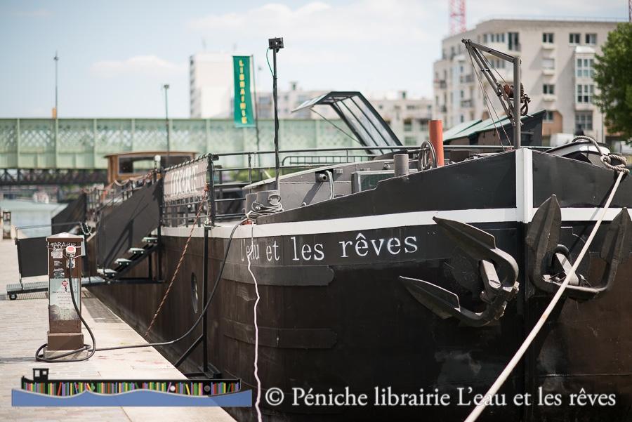 """La Péniche-Librairie """"L'eau et les rêves"""" (Photo J.Rosa)"""
