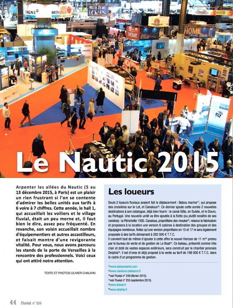 Salon Nautic 2015 (Fluvial n°259)